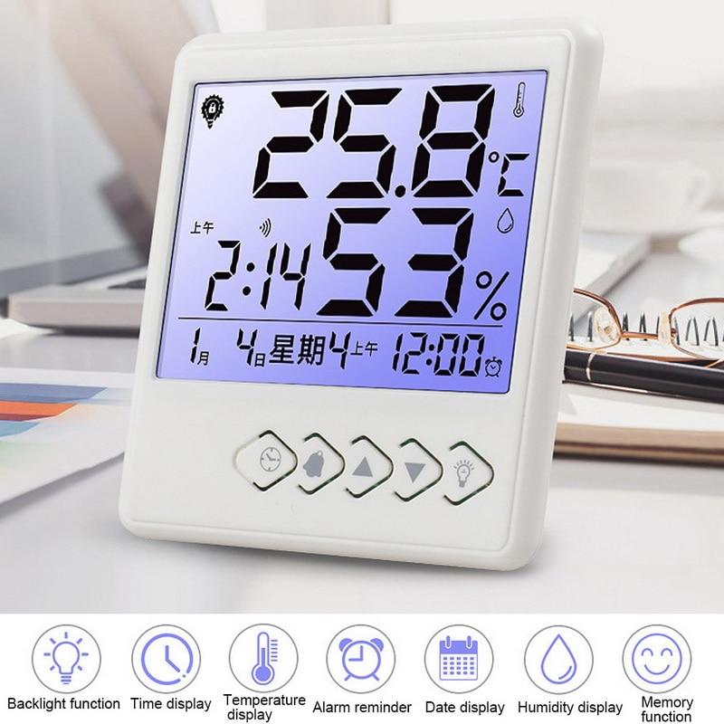 Medidor de humedad de temperatura Digital LCD para casa, higrómetro para exteriores, estación meteorológica, reloj con luz de fondo
