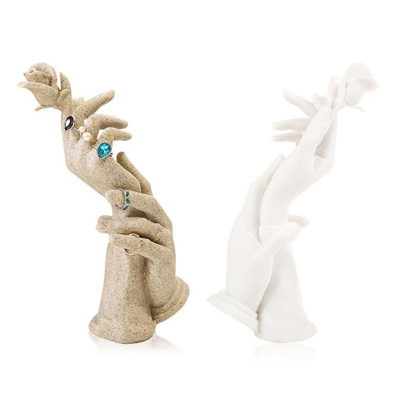 خاتم الراتنج الموضة اليد قالب عرض المجوهرات Manequin حلقة حامل المجوهرات الرف 83XF