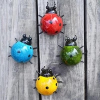 4pcs metal lady bugs garden fence wall art decoration outdoor wall sculptures home decoration miniature accessories