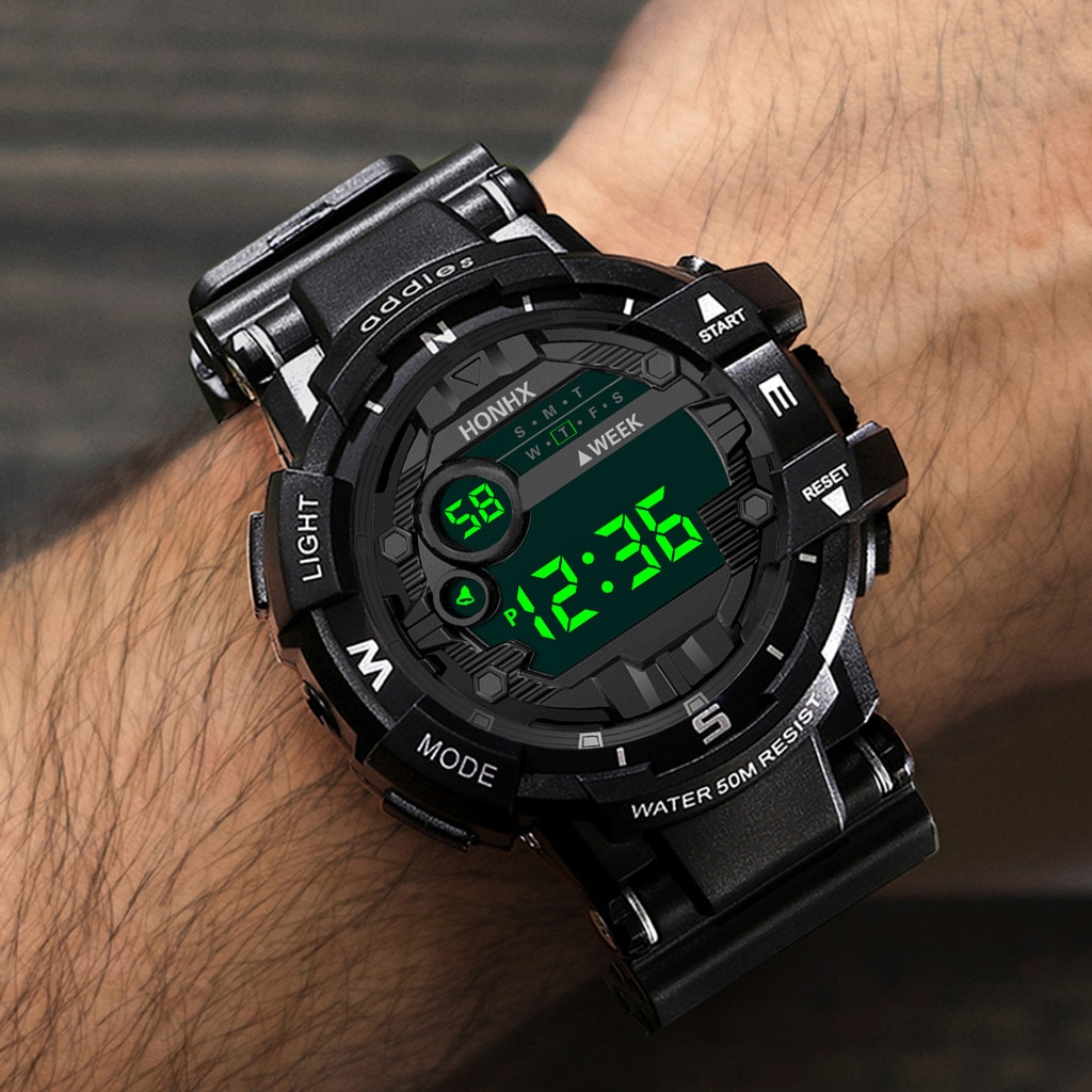Luxury Mens Digital Led Watch Date Sport Men Outdoor Electronic Watch Waterproof Luminous Men's Watc