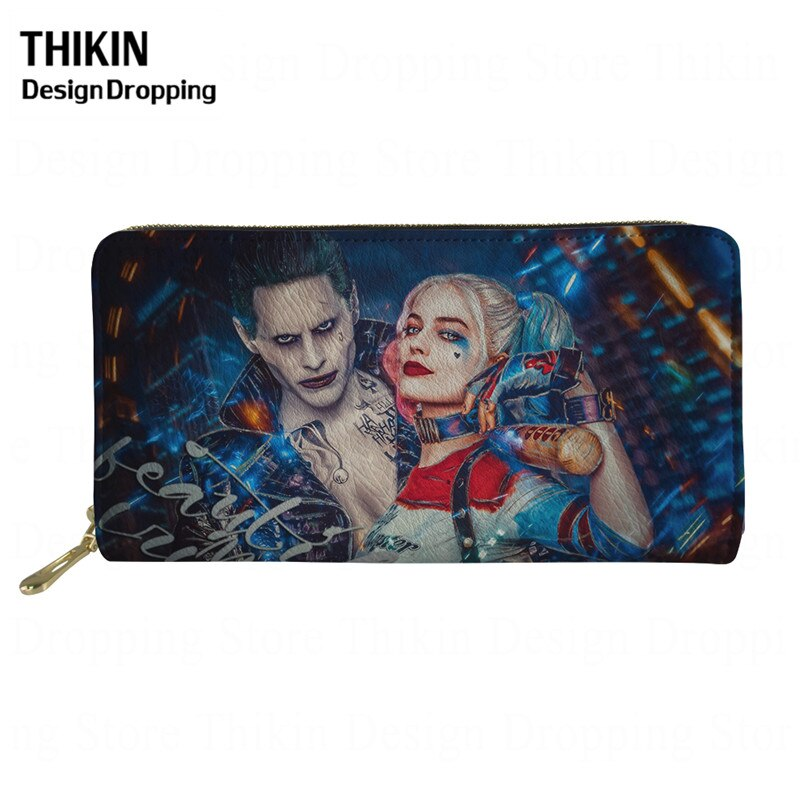 THIKIN Harley Quinn Joker Print Leather Wallet for Women Men Trendy Fashion Female ID Credit Card Holder Ladies Purse Phone Bags