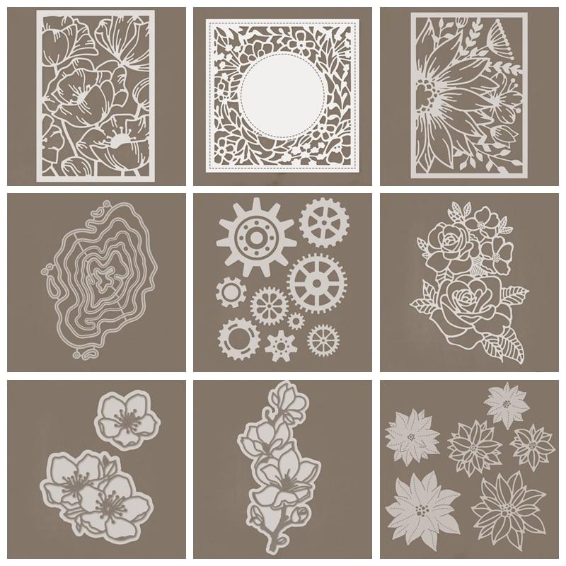 Замысловатые цветочные завитки, квадратный лепесток, лист, вырез, шестерня, неправильный узор, металлическая резка, штампы, сделай сам, реме...