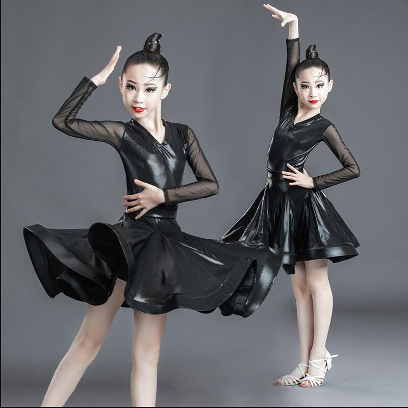 فستان رقص لاتيني للاطفال ، اسود ، مسابقة ، قاعة رقص ، سالسا
