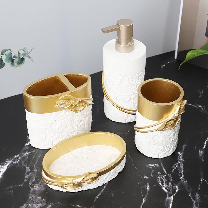 4 قطعة إكسسوارات الحمام مجموعة ، فرشاة الأسنان مجموعة حامل ، تحتوي على كأس فرشاة الأسنان ، صحن الصابون ، موزع الصابون ، بهلوان