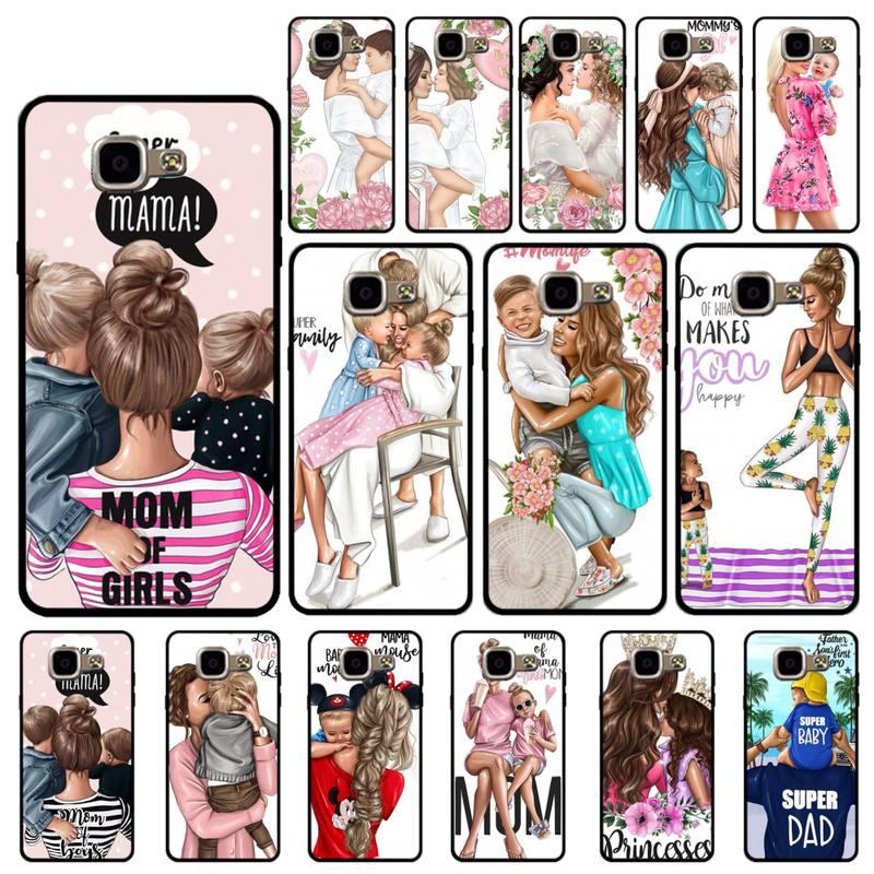 Maiyaca família menino menina princesa mãe pai bebê caso de telefone capa para samsung s6 s7 borda s8 s9 plus a40 50 70 a7 j5prime j4plus