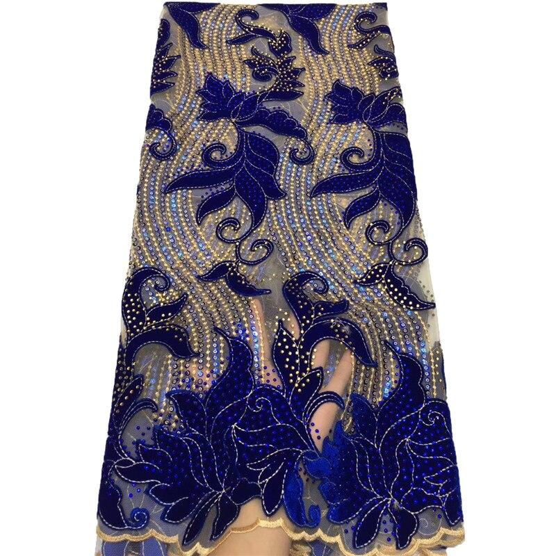 XIYA الملكي الأزرق دانتيل المخمل الأفريقي النسيج 2021 Hgh جودة الدانتيل الفرنسي أقمشة الدانتيل بالحجارة الدانتيل الفرنسي ل sewings 3197B