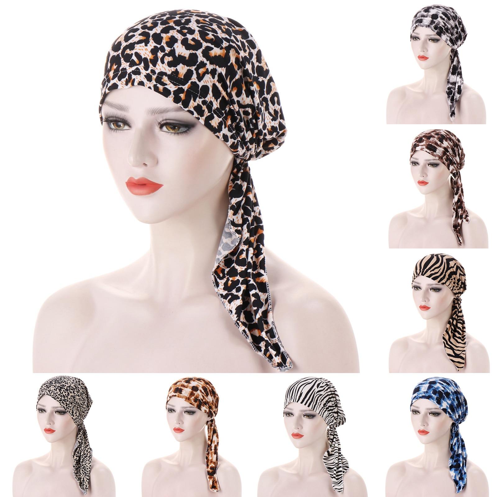 Women Fashion Hijab Cancer Chemo Muslim Leopard Print Hat Turban High-quality Head Cover Hair Loss Scarf Wrap Pre-tied Bandana