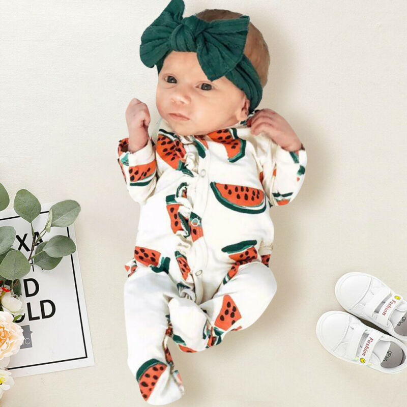 Ropa para bebé recién nacido Niño (niño o niña) mono lindo estampado sandía manga larga envuelto pie mono recién nacido