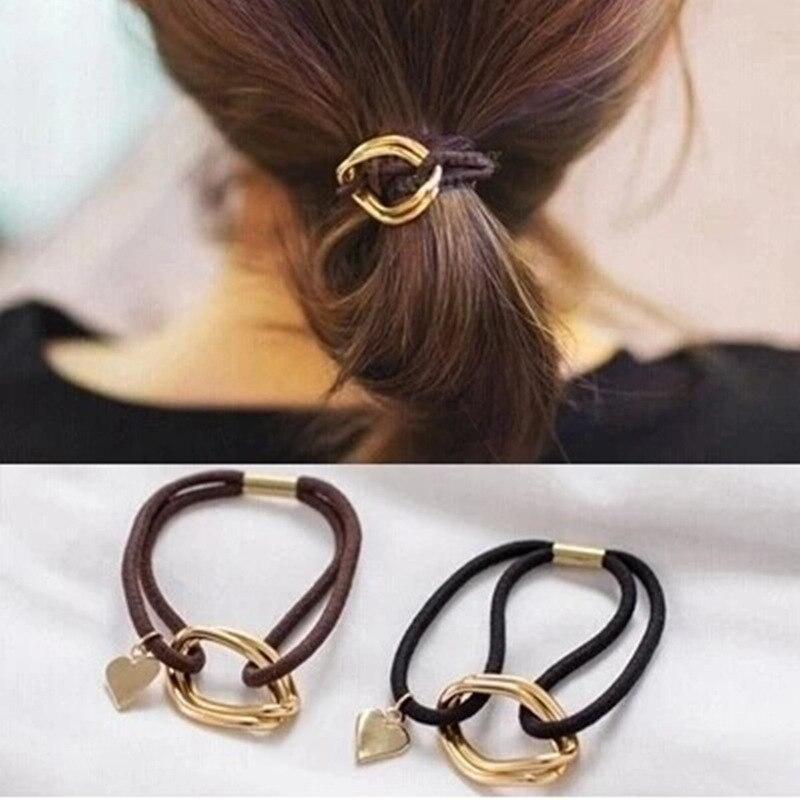 2019 Popular Coreano pelo adornos de Metal colgante de corazón doble anillo pelo Pelo lazos para niñas cuerda de pelo de las mujeres de moda Simple adornos para el pelo