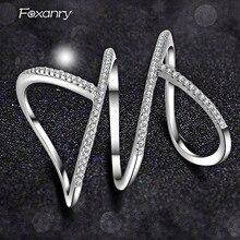 Foxanry ขายส่ง925เงินสเตอร์ลิงประกายแหวนเดี่ยวสำหรับผู้หญิงคู่ใหม่แฟชั่น Elegant Party เครื่องประดับปรั...