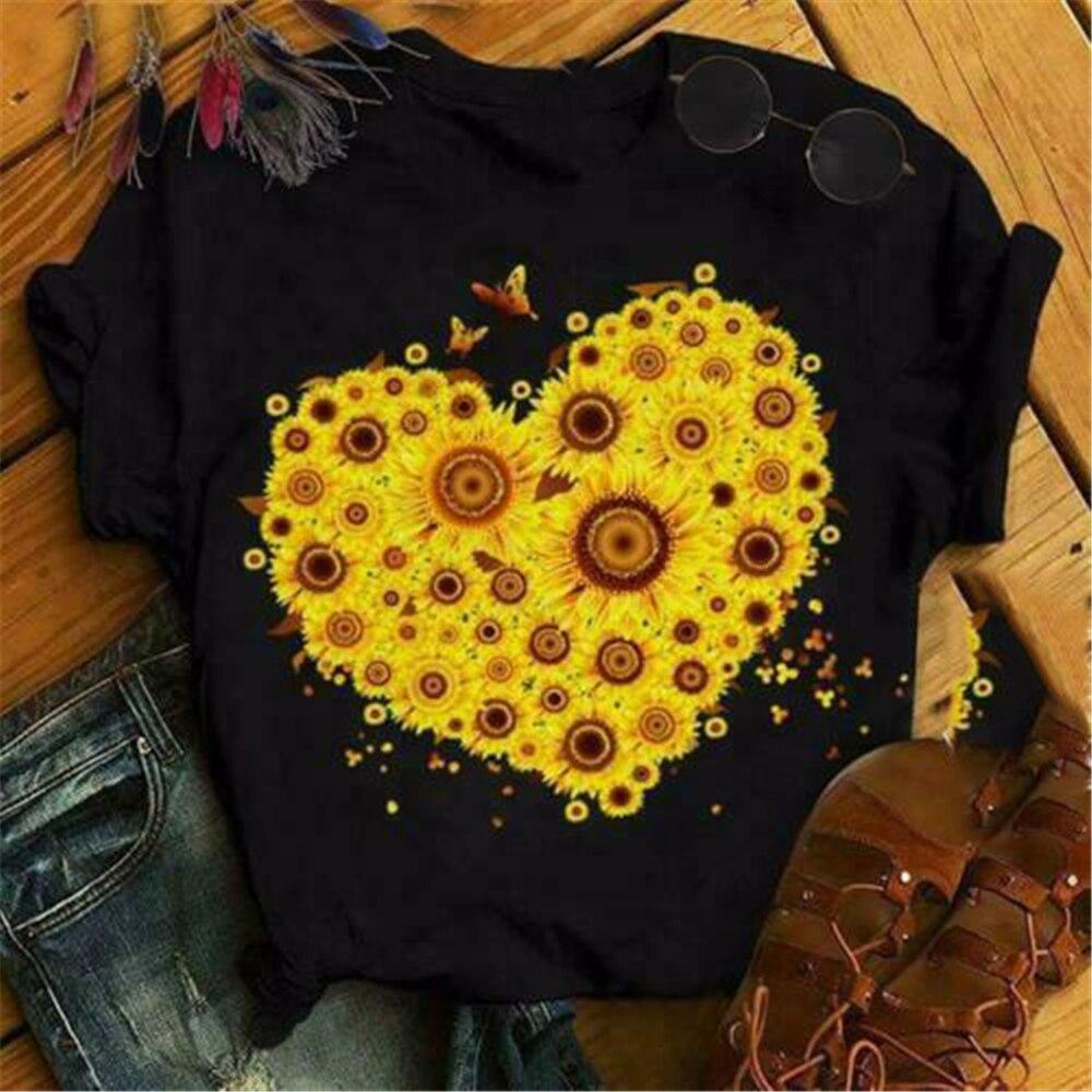 Sunflower In Heart Shape Ladies T-Shirt Black Cotton S-3Xl Big Tall Tee Shirt