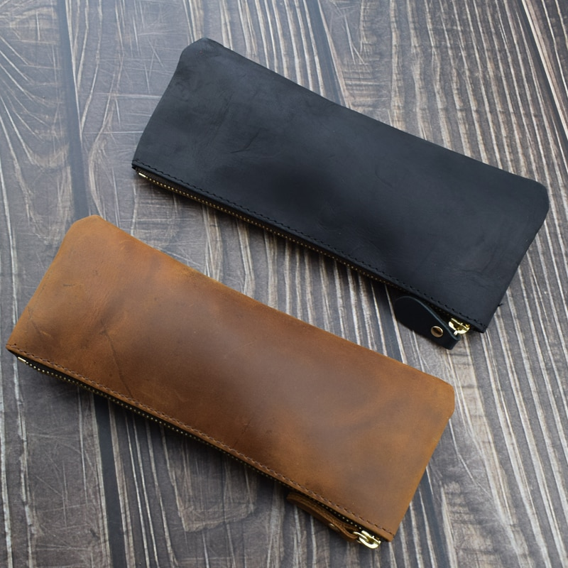 Handmade Cowhide Pen Bag Durable Genuine Leather Pencil Case Writing Materials Stationery Protective Cover Office School Tools
