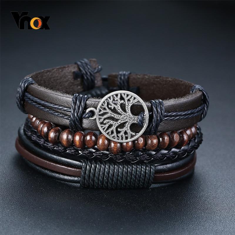 Vnox 4Pcs/ Set Braided Wrap Leather Bracelets for Men Vintage Life Tree Rudder Charm Wood Beads Ethn