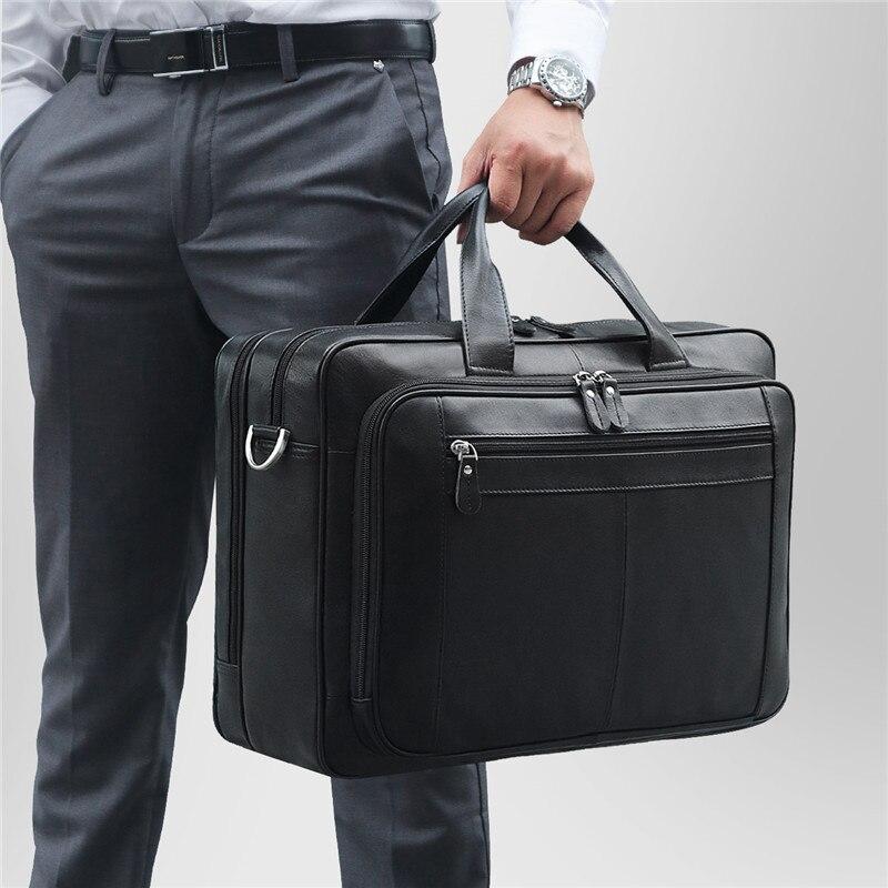 Black Coffee Genuine Leather Men Briefcase Male Portfolio 14'' 15.6'' 17'' Laptop Business Travel Men Messenger Bag M7320