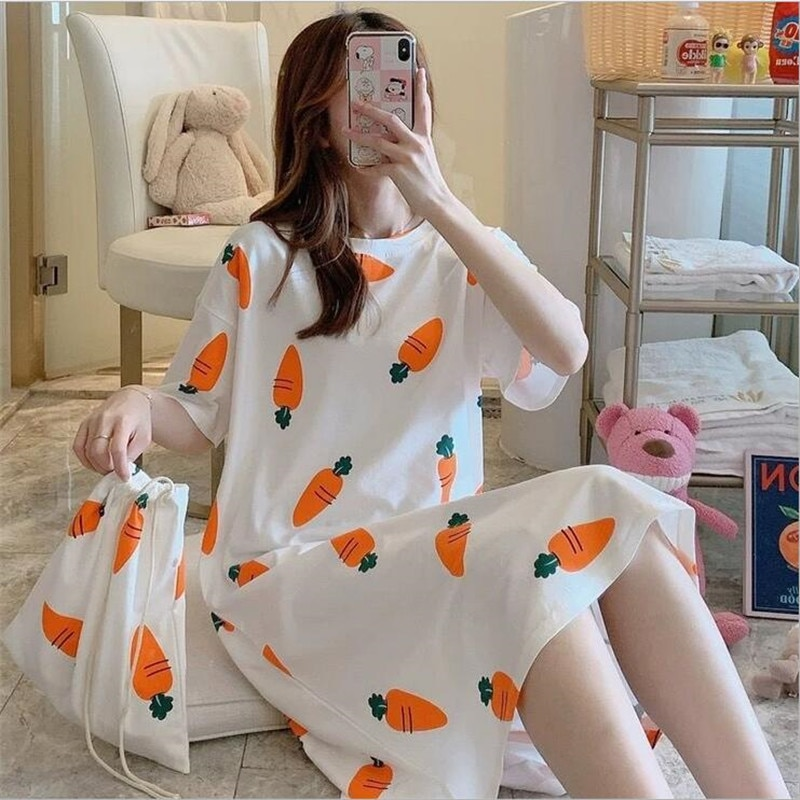 SONDR Women Short Sleeve Sleepwear Cotton Night Gowns Summer Cartoon Nightgowns Home Wear Girls Slee