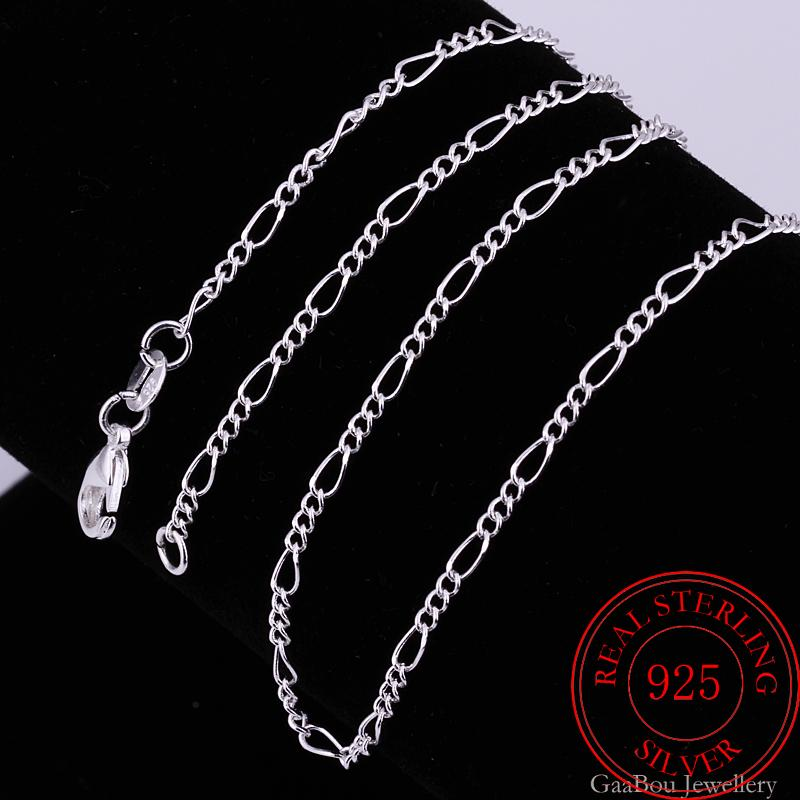 5pcs/lot 925 Sterling Silver Charm Chain Necklace For Women 2mm 16/18/20/22/24/26/28/30 Inch Fashion
