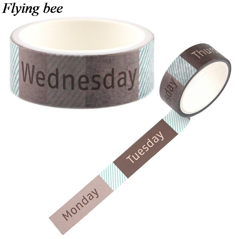Flyingbee 15mmX5m Week period Wash Tape Paper DIY декоративная клейкая лента Канцтовары уникальные малярные Ленточные принадлежности X0691