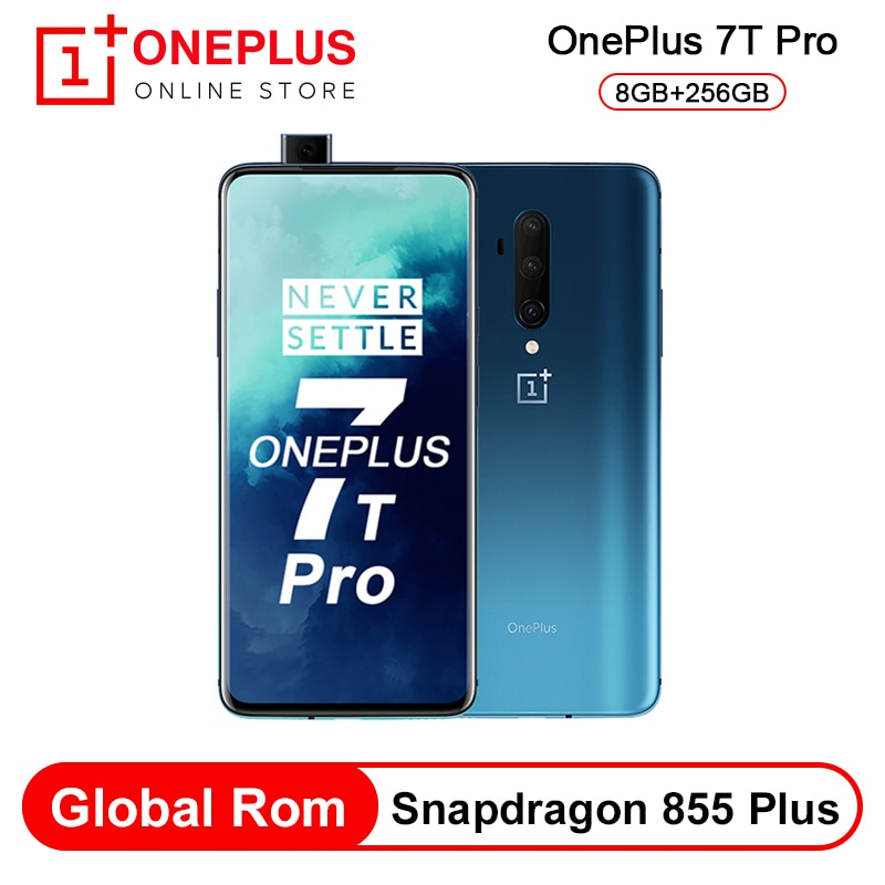 Em estoque rom global oneplus 7 t pro snapdragon 855 plus octa núcleo smartphone 8 gb 256 gb 6.67 90 90 hz amoled 48mp cam nfc android 10