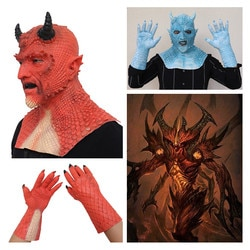 Маскарадные маски DIABLO 3 Belial Demon Boss для косплея, маски из латекса, красные, синие перчатки, маскарадный костюм для вечеринки, Рождества, маскарада