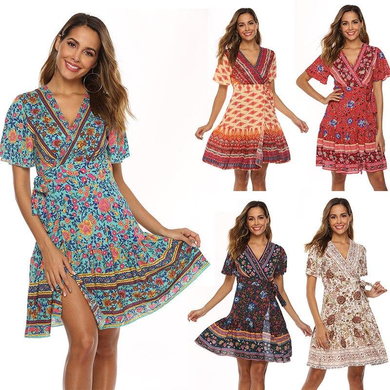 Plus Size Casual Boho Beach Dress Women Fashion Ruffles Short Sleeve Summer Dress Sexy V-Neck Print Party Vestidos Cotton Robe