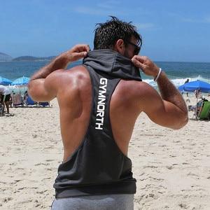 Summer Brand Gyms Clothing Men Bodybuilding Hooded Tank Top Sleeveless Vest Sweatshirt Fitness Workout Sportswear Tops Male