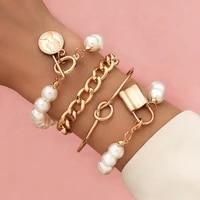 2021 new 4 6pcsset bohemian gold color moon leaf crystal opal open bracelet set for women punk boho beach bangle jewelry gift