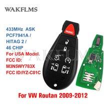 Voor Vw Vlokswagen Routan Key 2009 2010 2011 2012 7 Knoppen 433Mhz ID46 Non Prox Fobik Remote Autosleutel case & Board