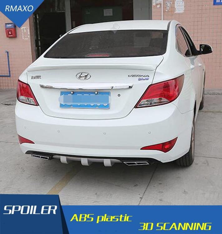 For HYUNDAI Verna Diffuser Bumpers Body kit spoiler 2013-2018 For Accent 4CK ABS Rear lip rear spoiler front Bumper Protector