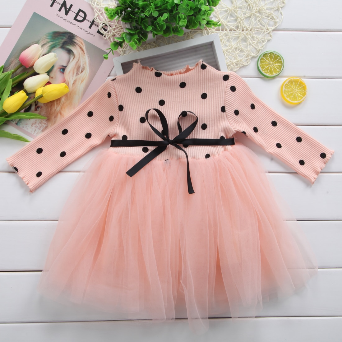 Girl Princess Long Sleeve Dress Newborn Infant Clothes Baby Girl Bow Dot Tutu Ball Gown Party Dresses Kid  Clothes newborn girl infant baby birthday wedding party dress ball gown princess lace up long sleeve front bow kids girl clothes