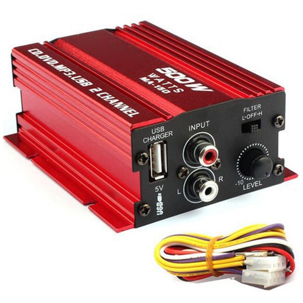 car stereo amplifier dc12v ac220v bluetooth 2ch hi fi car stereo audio power amplifier digital player usb sd fm dvd for car auto Mini Hi-Fi 500W 2 Channel Stereo Audio Car Amplifier For Car Auto Motorcycle