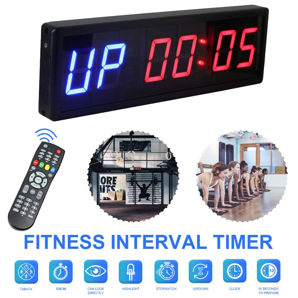 Digital Countdown Clock Stopwatch With Remote LED Interval Timer Clock For Home Gym Fitness Crossfit Stopwatch Fitness Equipment