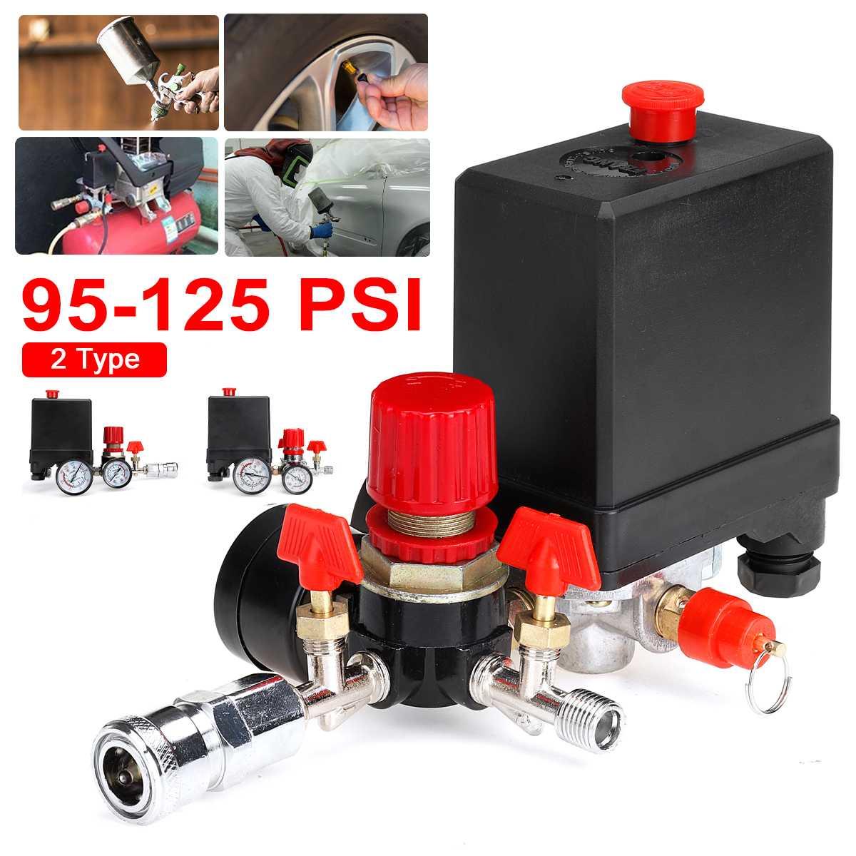 95-125PSI ضاغط الهواء صمام الضغط التبديل المنوع الإغاثة منظم مقاييس الإضاءة الملحقات مفاتيح مع مقياس