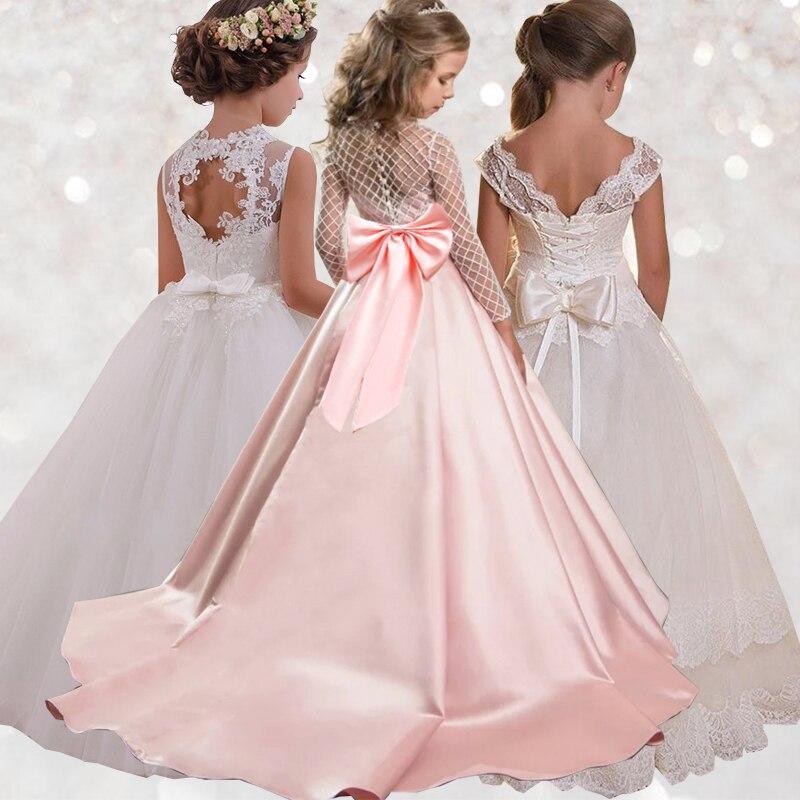 Vestido de fiesta para niñas con encaje de cola, vestido de baile de graduación para niñas, vestido de fiesta para niñas con longitud hasta el tobillo, vestido de fiesta de boda elegante para niñas LP-204