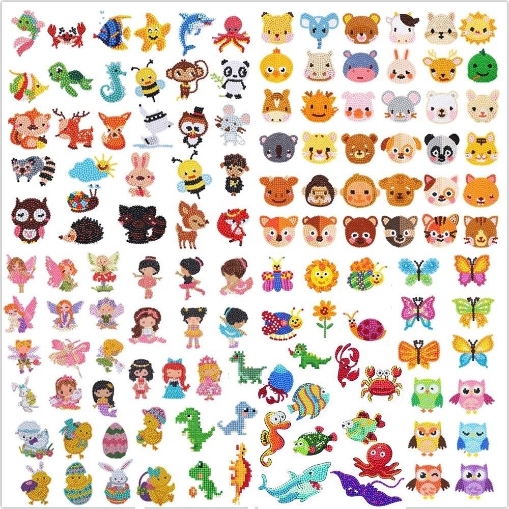 Pintura de diamantes DIY 5D para niños, pegatinas de diamantes de dibujos animados de animales para niños, regalo de cumpleaños, pegatinas de decoración de vasos de teléfono