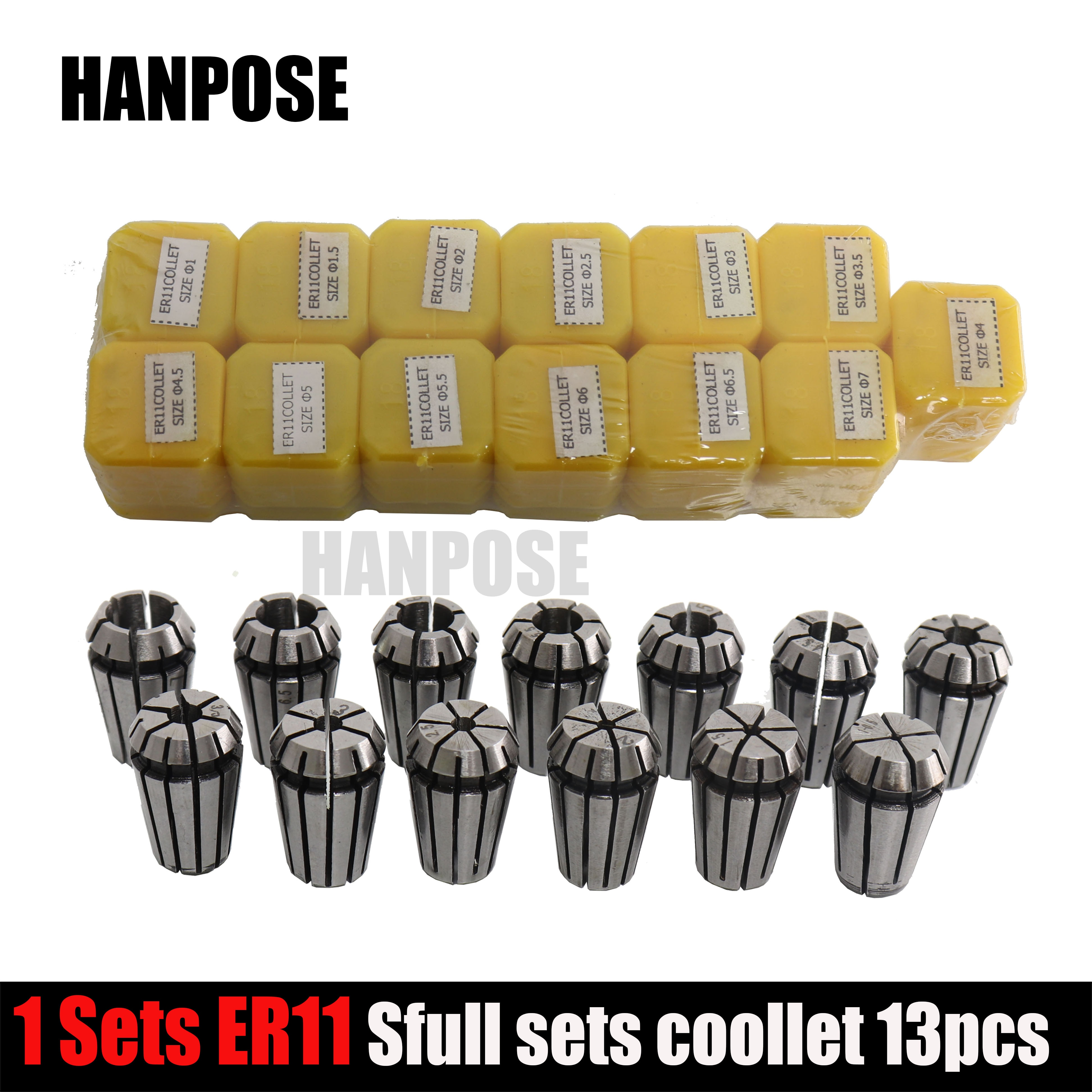 13Pcs ER11 Collet chuck cnc Spindle ER11 Collet lathe tool holder Pinza ER11 Collet set from 1-7MM for CNC milling lather tool