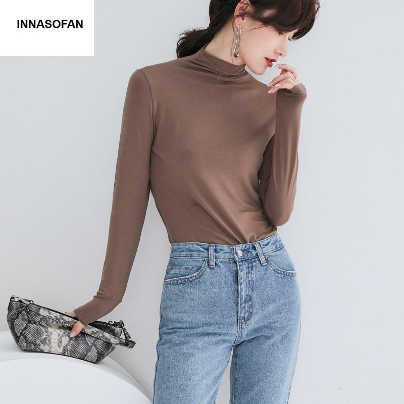Gran oferta INNASOFAN blusa delgada para mujer Otoño-Invierno camisetas de manga larga moda euroamericana Chic blusa de Color sólido