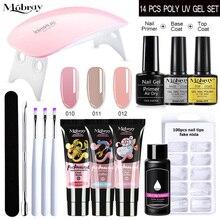 15ml Poly UV Gel Manicure Set Extend Builder Poly Nail Gel Kits Finger Nail Extension LED Acrylic Bu