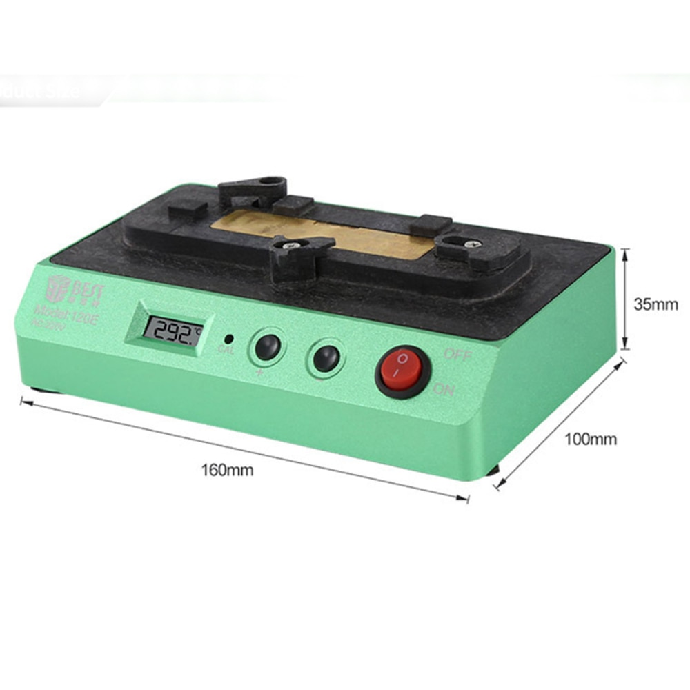 Mini Welding Platform For Mobile Phone Motherboard 80 ~ 300 ℃ Bst 120E CPU BGA IPhone LCD Preheating Table Adjust Temperature 60 60mm microcomputer temperature controlled heating platform mobile phone screen removal preheating platform bozan 946 60 500w