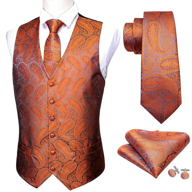 Модный мужской костюм Barry.Wang, жилет оранжевого цвета с узором пейсли, Шелковый жилет с v-образным вырезом и галстуком, строгий M-2042 для отдыха