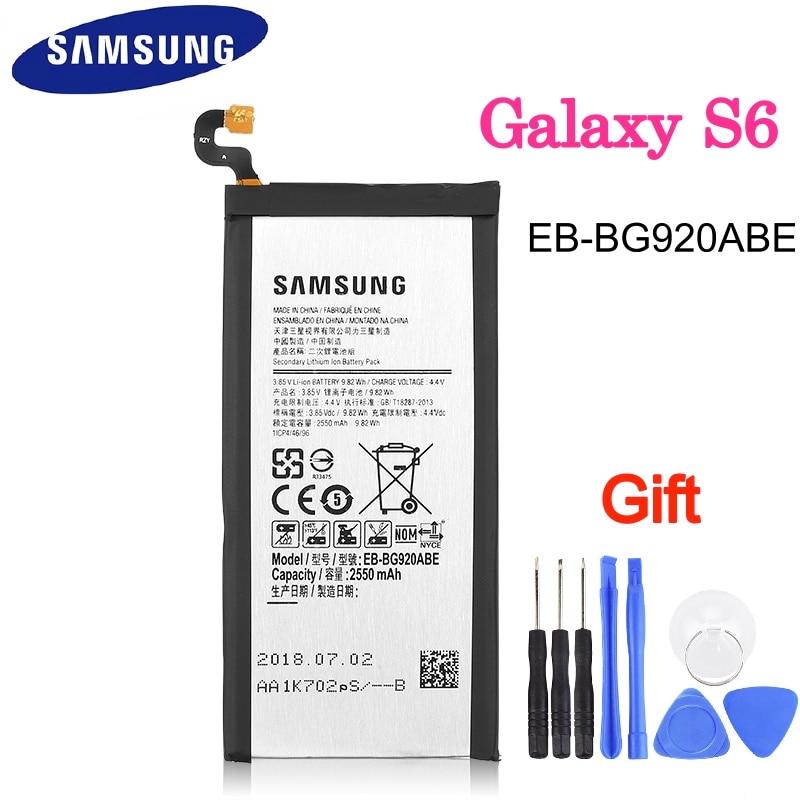 Bateria original EB-BG920ABE mah, bateria 2550mah para samsung galaxy s6 g9200 g9208 g9209 g920f g920i g920 g920a g920v»