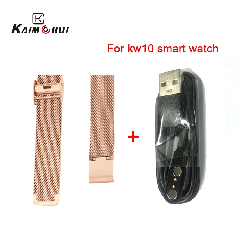 Original KW10 Smart Watch Strap Stainless Steel/Leather KW10 KW20 smartwatch Charger Cable For KW10