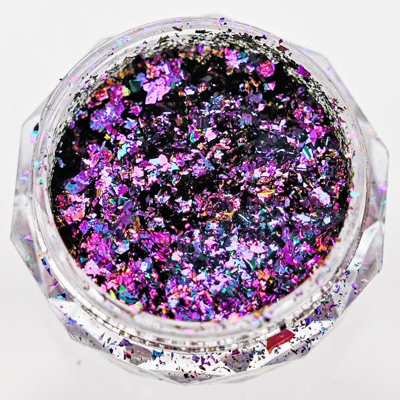 2.5g/jar Chameleon Metallic Nail Flake Lusters Rainbow Holographic Foil Art Pigment Mixed-shape Nail Glitter Sequins HS26D2F недорого