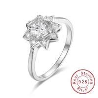 fashion pentagram solid 925 sterling silver ring luxury 2ct diamond wedding rings for women jewelry cute girl gift