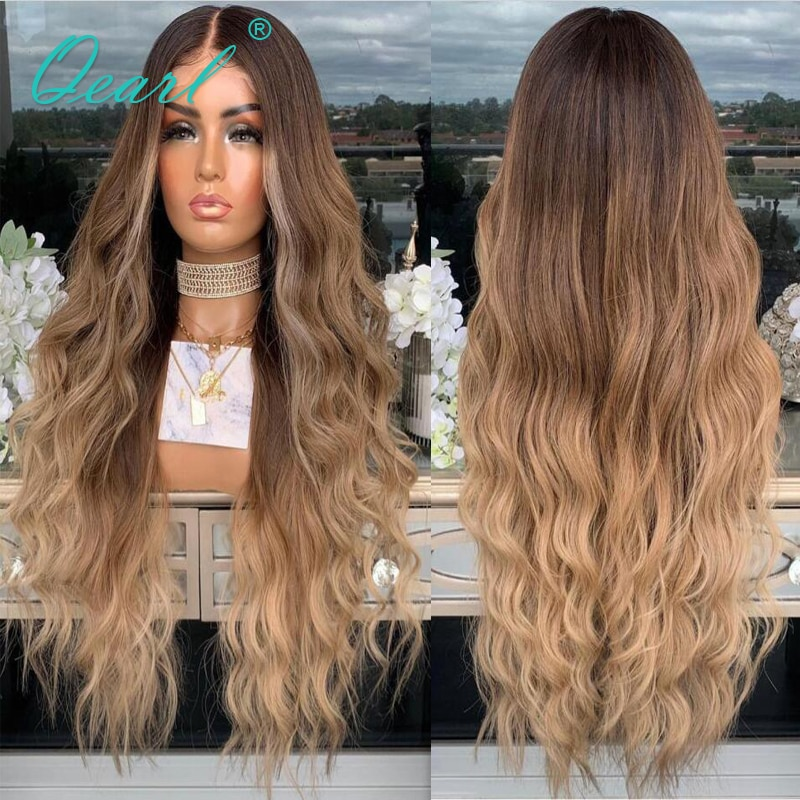 Ombre Caramel Blonde Lace Front Wig 13x4/13x6 Water WAve Human Hair Wigs Preplucked Brazilian Remy Hair for Women 150% Qearl
