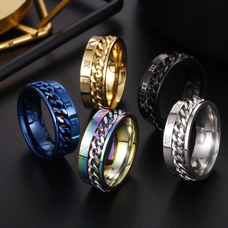 8mm anel girador para homens acessório de liberação de estresse roma banda de casamento de aço inoxidável rotatable básico casual masculino jóias esportivas g
