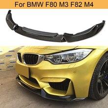 Carbon Fiber Front Bumper Lip für BMW F80 M3 F82 M4 Limousine Coupe Cabrio 2014-2019 Auto Front Lip kinn Spoiler Verlängerung