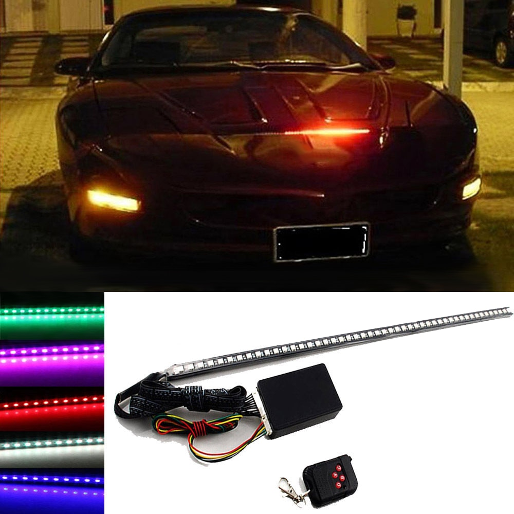 "22 ""7-Color DC 12V 48 LED RGB escáner coche SUV motocicleta luz estroboscópica Knight Rider Kit PVC Flash de luz de tira"