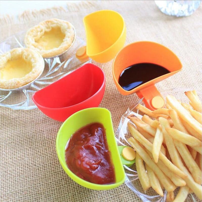1PCS Assorted Gewürz Zucker Salat Tomaten paste Sauce Gerichte Küche Clip Schüssel Dip Kleine Clip Gewürz Schüssel Schüssel