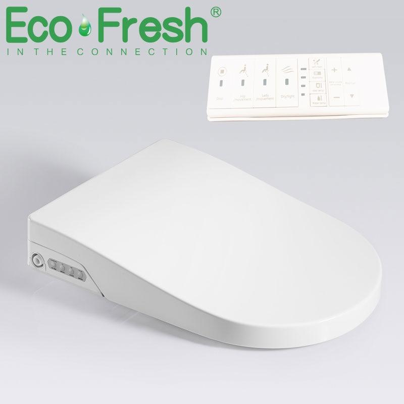 EcoFresh D U-شكل مقعد مرحاض ذكي بيديه كهربي غطاء ذكي ليلة ضوء ذكي رذاذ بيديه الحرارة نظيفة الجافة تدليك