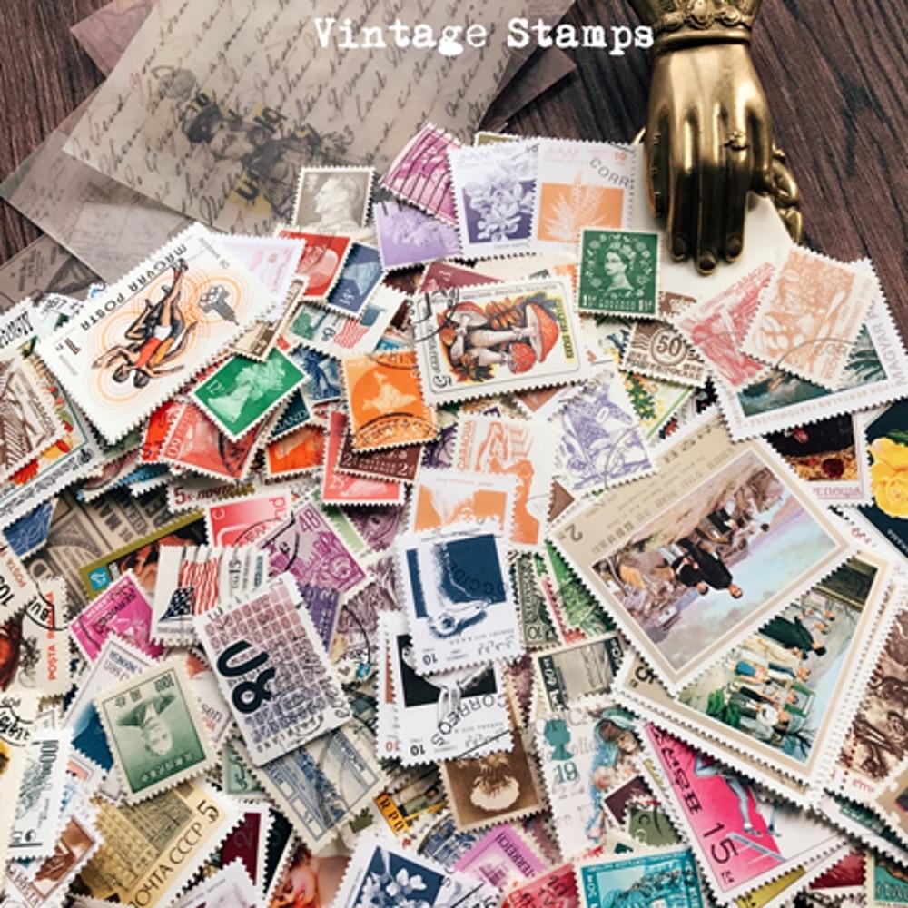 20Pcs/Pack Vintage Traveler's Factory Used Marked Post Stamp DIY Craft Scrapbooking Album Junk Journal Planner Decorative Stamps